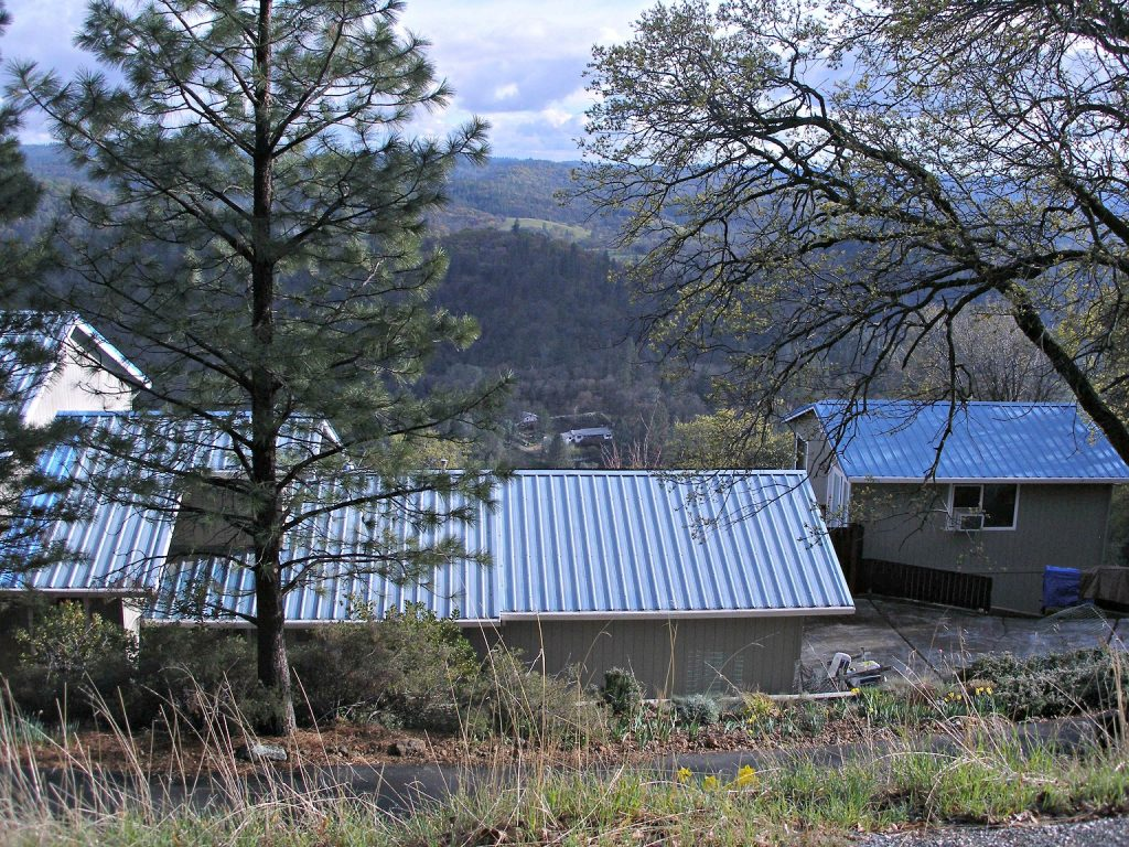 Photo of home with a steel roof.